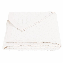 Vintage White Diamond Linen Quilt