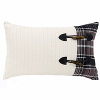 Whistler Cable Knit And Plaid Pillow With Toggle Buttons