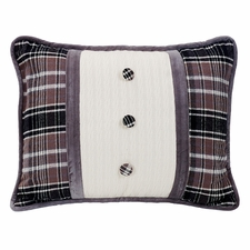 Whistler Oblong Cable Knit And Plaid Pillow With Covered Buttons