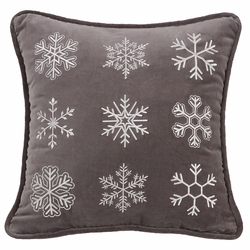 Whistler Square Embroidered Snowflake Pillow