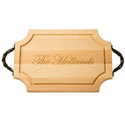 18 inch Scalloped Cutting Board With Iron Handles