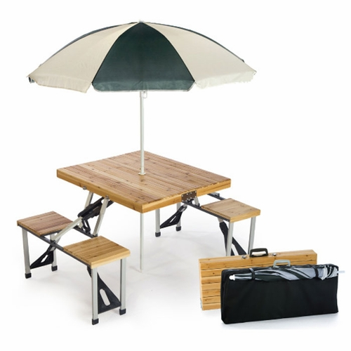 wooden portable picnic table with umbrella tailgating. Black Bedroom Furniture Sets. Home Design Ideas