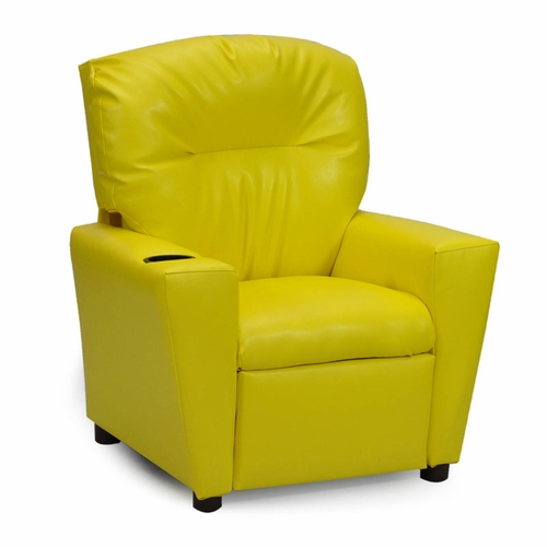 Yellow Vinyl Kids Recliner With Cup Holder Kids Recliners