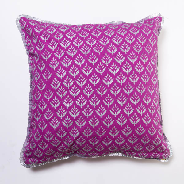 Hand block printed pillow cover