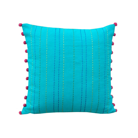 MS1 Dyed with rice stitch and pom pom pillow cover