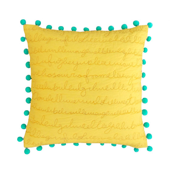 MS2 Dyed with rice stitch and pom pom pillow cover