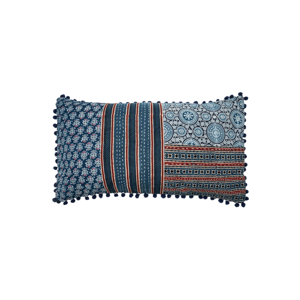 Patchwork block printed pillow cover