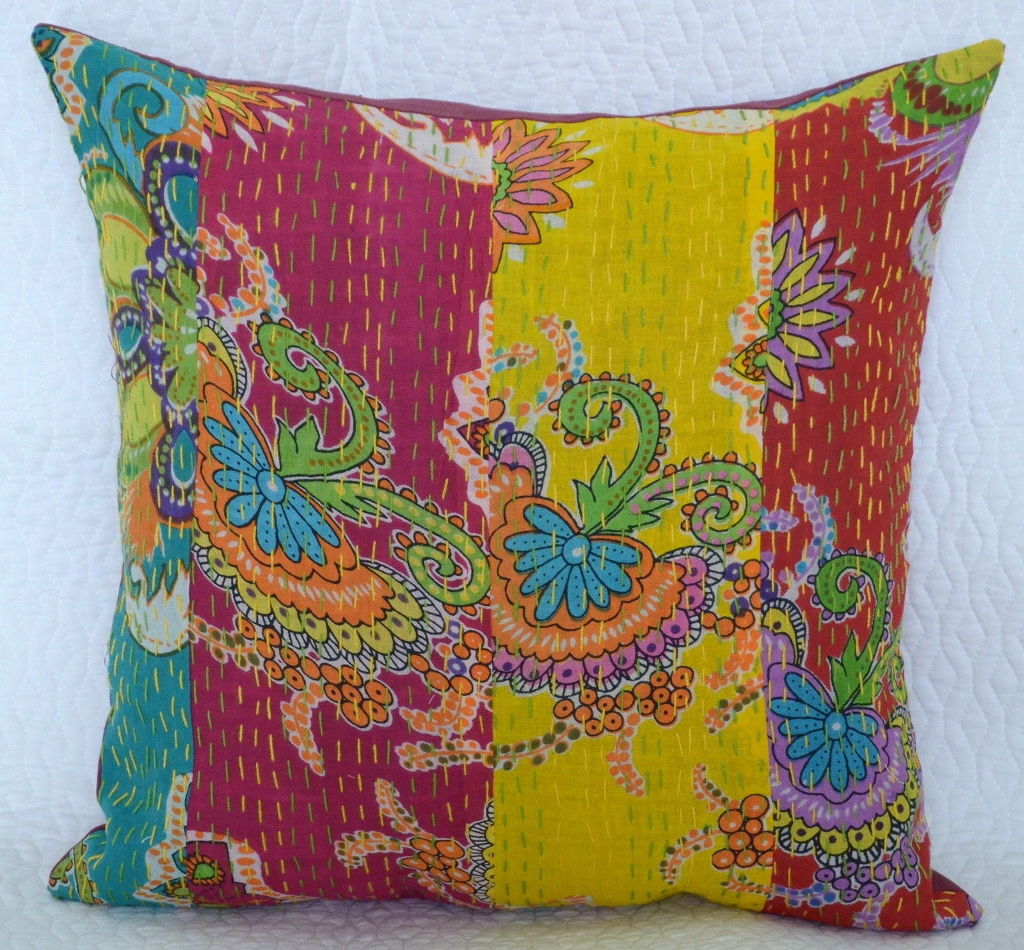 PK1 Patchwork block printed kantha pillow cover