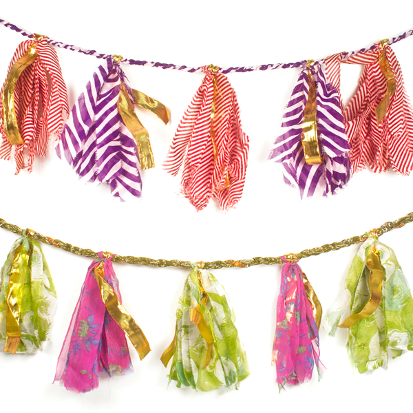 Recycled sari and mylar party tassel garland