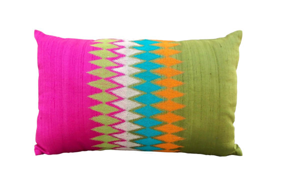 SLK9 Woven silk ikatesque pillow cover