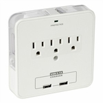 3 Outlet, 2 USB Port Duo Device Bracket Wall Tap