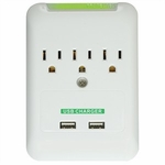 3-outlet Surge Protector W/ Dual USB Charger, 2.1amp
