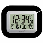 Atomic Digital Wall Clock, Black
