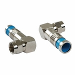 F Rg6 Quad Rt Angle Compression Connector, Nickle