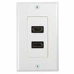 HDMI Wall Plate, 2 Ports, White