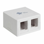 Keystone Surface Mount Box, Dual Port, White