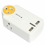 Powersall Mini 3-outlet Surge Protector W/ Dual USB