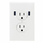U-socket 2, Dual USB, Dual Outlet, White