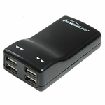 USB AC Charger, 4 Ports, Black