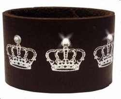Brown Leather Crown Cuff with Sparkling Crystals