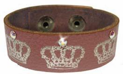 Crown Leather Cuff in Mauve with Crystals