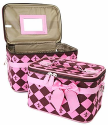 """I'll Take Paris"" Fleur de Lis Train Cases (2pc Set)"
