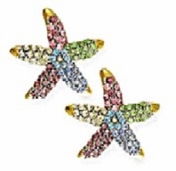 Multi Color Crystal Starfish Earrings