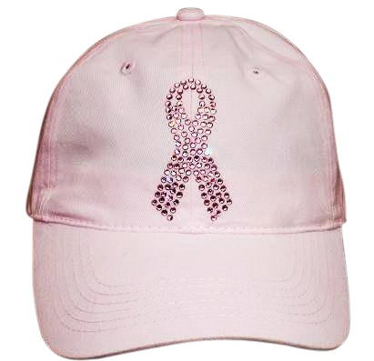 Breast Cancer Ribbon Rhinestone Cap (AVAIL Pink or Black)