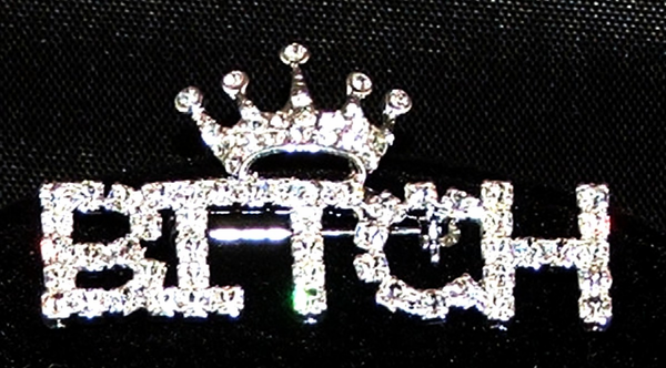 """Queen Bitch"" Austrian Crystal Pin"