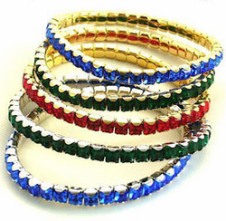 "Sale! Swarovski Crystal Emerald Cut ""Jewel Tones"" Bracelet"