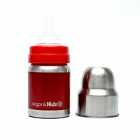 4oz Wide Mouth Stainless Steel Baby Bottle, by organicKidz