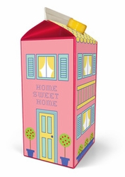 'Pink House' Milk Carton Stickers, by Box Play