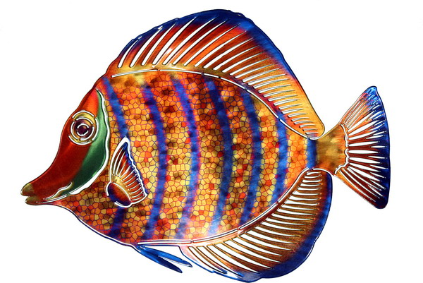 Tropical fish art for Fish metal wall art
