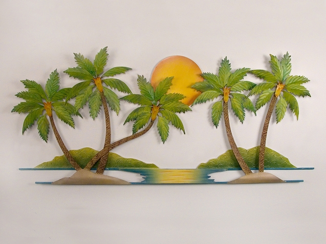 Bathroom wall decorations tropical wall art for Tropical metal wall art