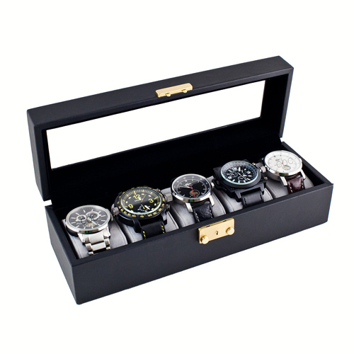 CLASSIC WATCH CASE GLASS CLEAR TOP DISPLAY STORAGE BOX HOLDS 5 WATCHES AND JEWELRY