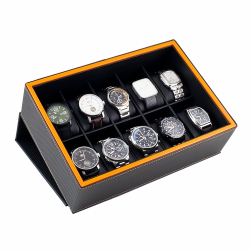 FLIP TOP WATCH DISPLAY CASE WITH LAVA ORANGE TRIM HOLDS 10 WATCHES