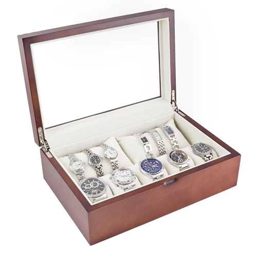 Vintage Finish Glass Top Watch Box with Soft Pillows Holds 10+ Watch Extra Clearance for Large Watches-Vintage Series II
