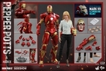 "12"" Iron Man 3 Mark IX (9) and Pepper Potts 1/6th Scale Action Figure Hot Toys 2015 Toy Fair Exclusive"