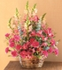 Basket with Mixed Pinks flowers