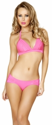 Roma Costume Style 3108, Banded Hot Pink Top and Scrunched Shorts, Halter Top and Scrunched Shorts