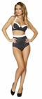Black and White Polka Dot Pinup Bra and High Waisted Banded Short