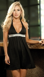 Halter Babydoll Dress, Sexy Clubwear, Party Dress, Black Mini Dress