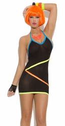 Neon Clothing, Rave Clothing, Black Mini Dress with Neon Strap
