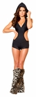 Black Spandex Romper with Detachable Hood