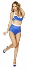 Blue and white Polka Dot Pinup Bra and High Waisted Banded Short