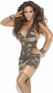 Camouflage Bedroom Mini Dress, Camouflage Lingerie, Camouflage Mini Dress with Garters