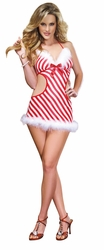 Candy Cane Apron Babydoll And Thong, Christmas Apron Babydoll and Thong, Sexy Christmas Lingerie