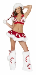 Candy Cane Halter and Skirt Set, Sexy Candy Cane Top and Tutu Skirt, Sexy Christmas Costume