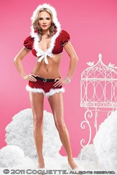 Christmas Velvet Jacket & Shorts, Coquette Holiday Lingerie, Sexy Christmas Lingerie