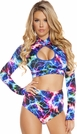 Long Sleeved Dance Top, Electric Print Long Sleeve Crop Top